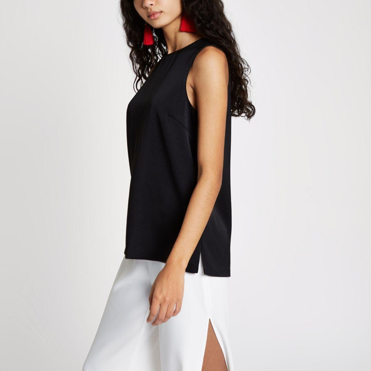 Black jacquard sleeveless top
