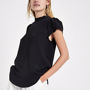 Black high ruffle neck top