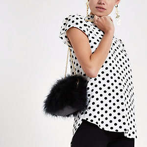 White polka dot frill shell top