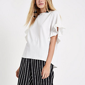 Cream frill sleeve top