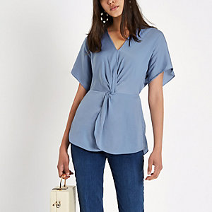 Blue satin knot front shirt