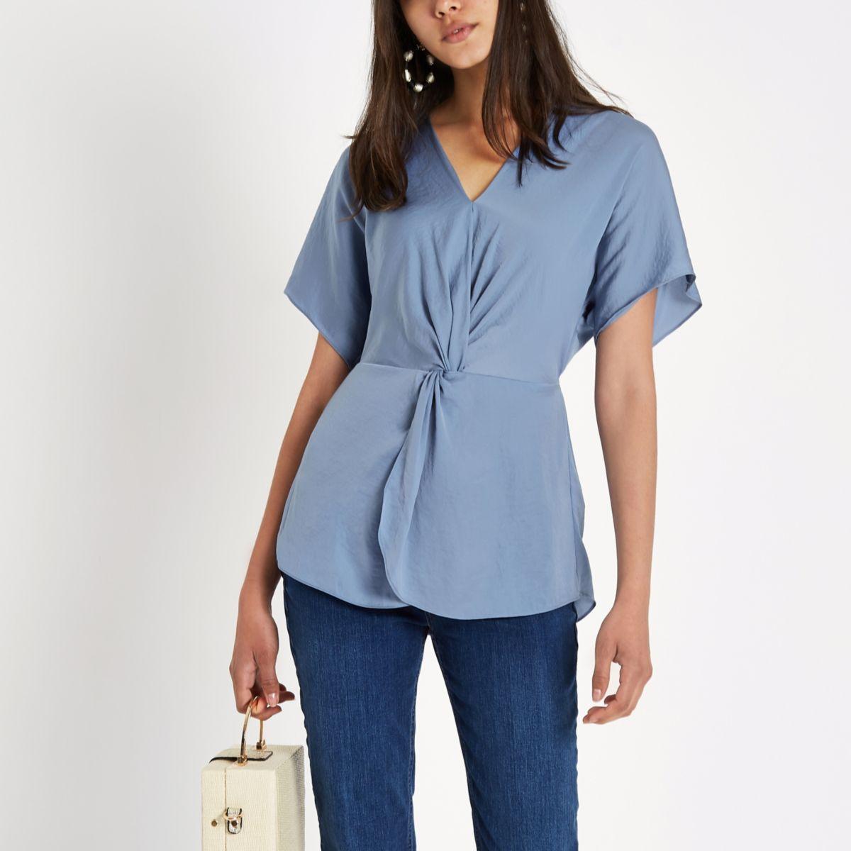 Blue satin knot front shirt