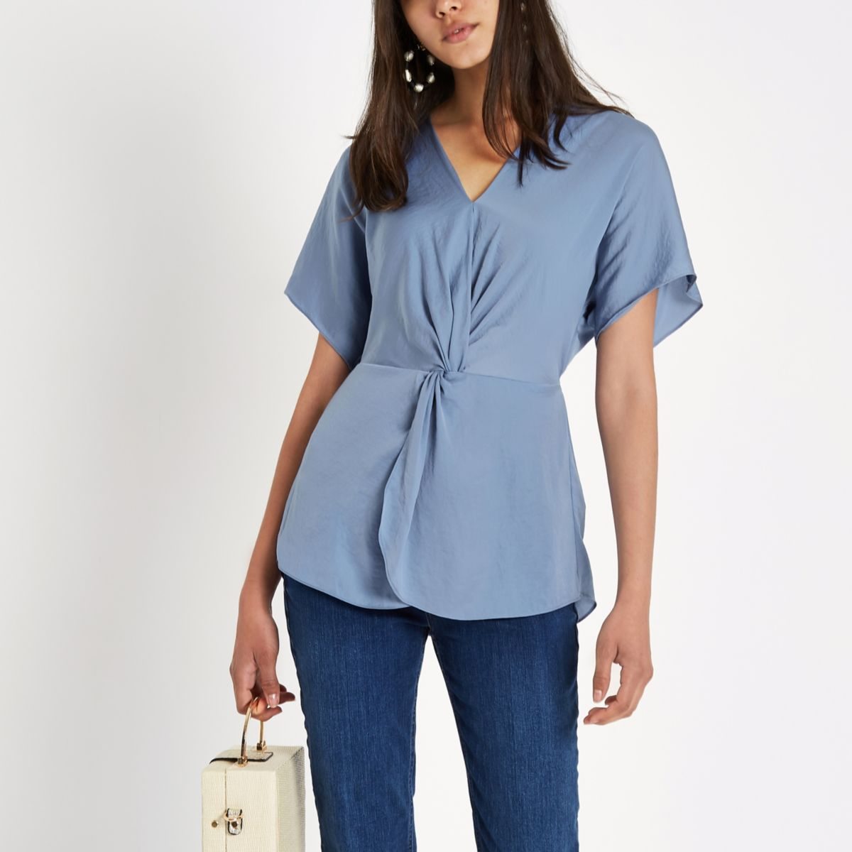 Blue Satin Knot Front Shirt                                  Blue Satin Knot Front Shirt by River Island