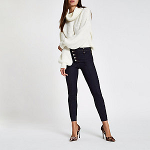 Harper - Donkerblauwe denim jeans met hoge taille en knopen