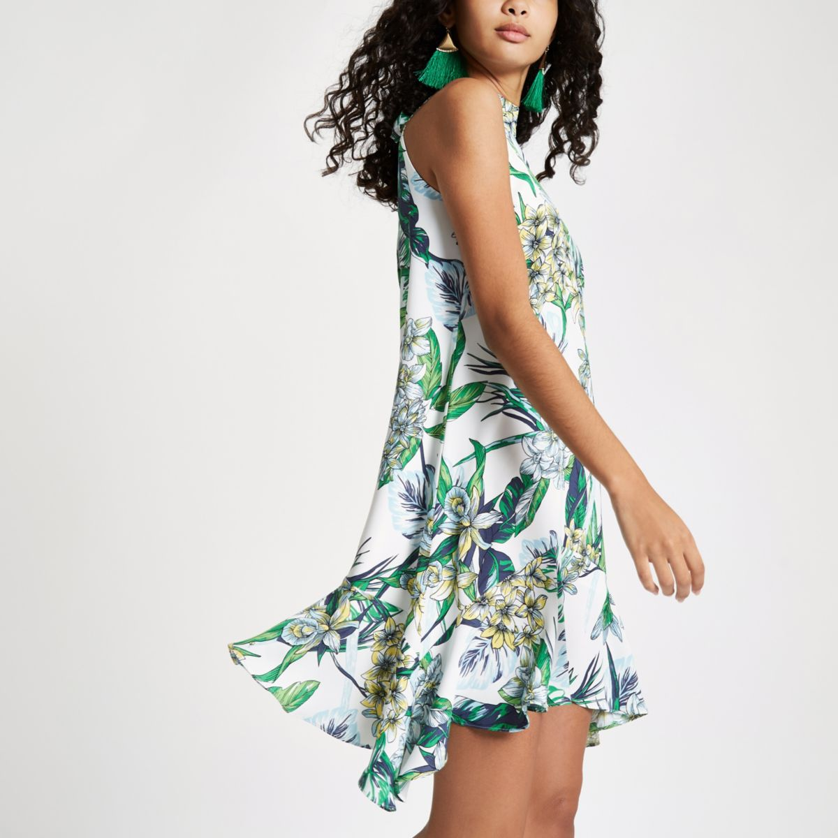 White Floral Print Swing Dress Dresses Sale Women