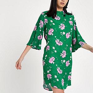 Robe trapèze à fleurs verte à encolure haute