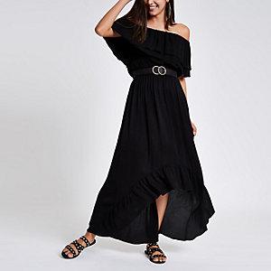 Zwarte maxi-jurk in bardotstijl met ruches