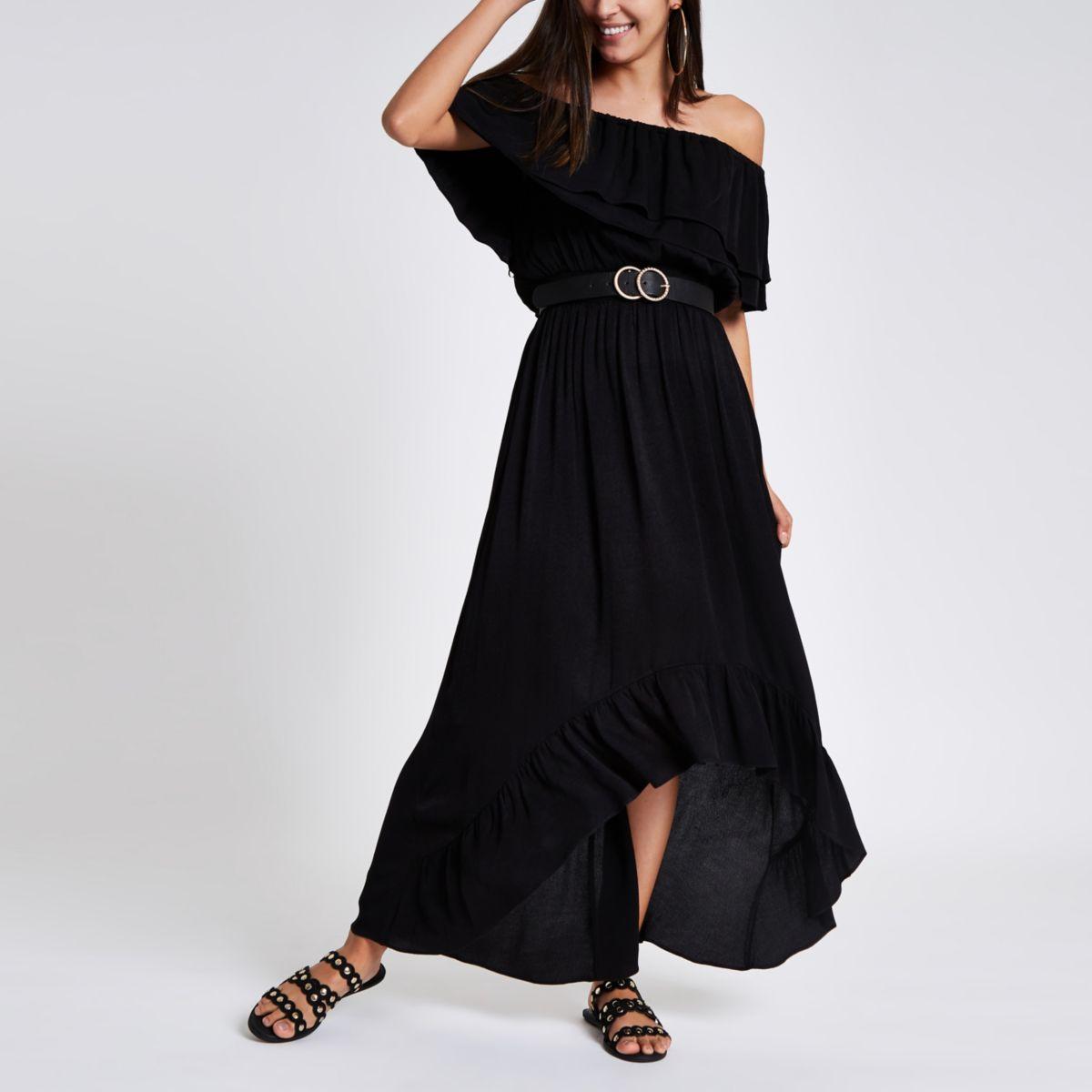Black frill bardot maxi dress