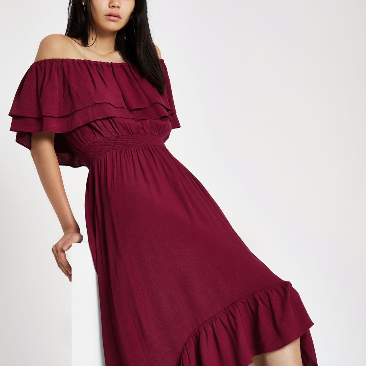 Purple frill bardot high low maxi dress