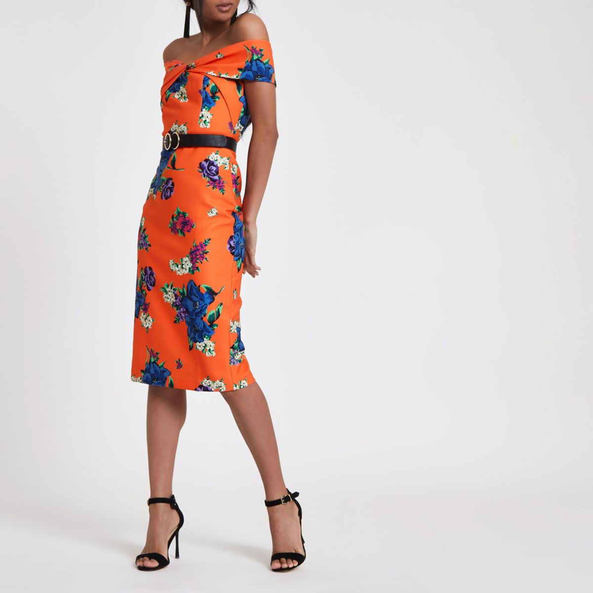 Orange floral twist front bodycon midi dress