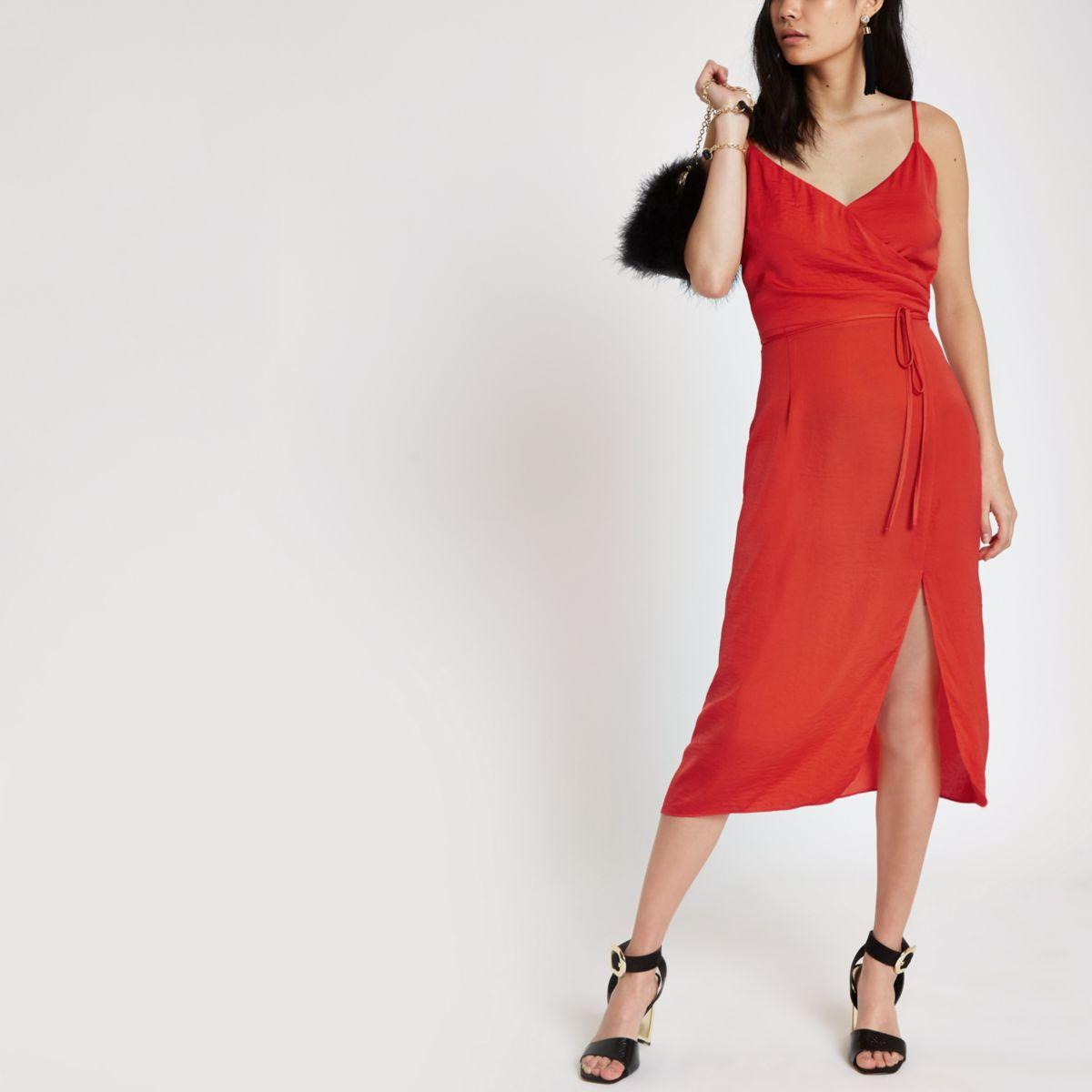 Red cami slip tie front midi dress