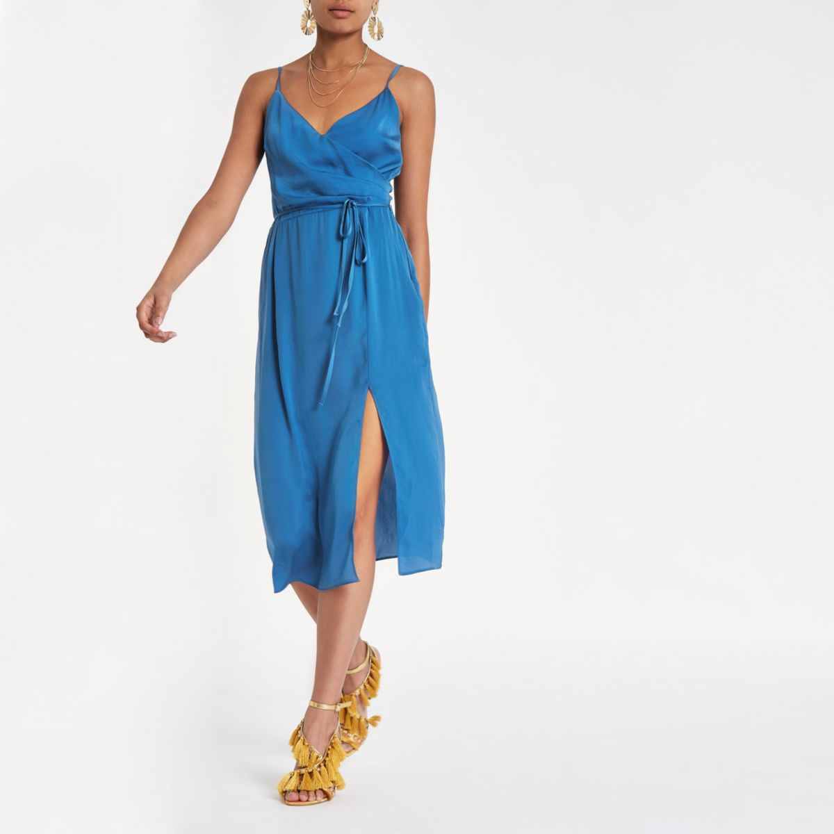 Blue cami slip tie front midi dress