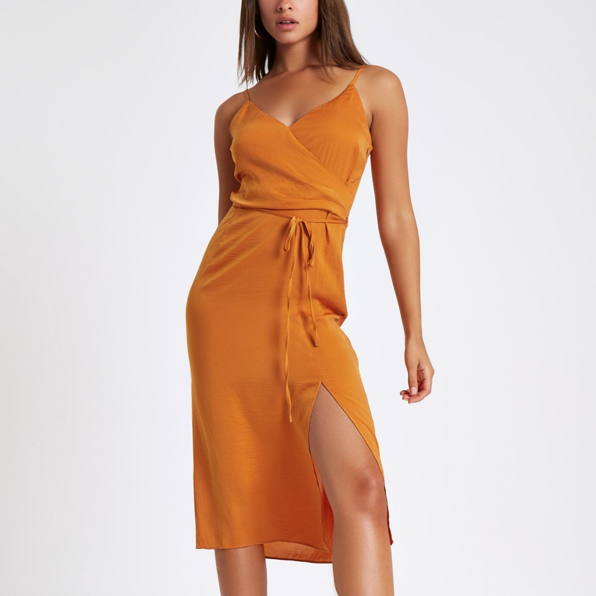 Orange cami slip tie front midi dress