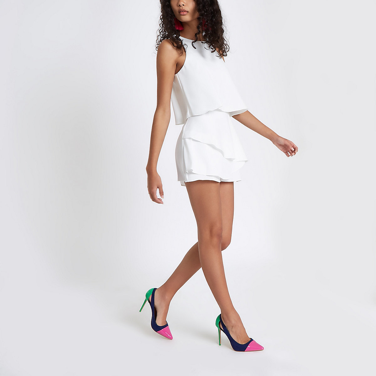 White tiered frill sleeveless playsuit