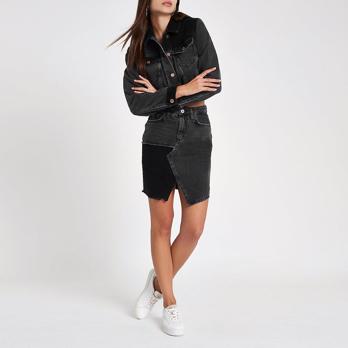Black cord insert high rise mini denim skirt