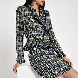 Blue tweed double-breasted jacket
