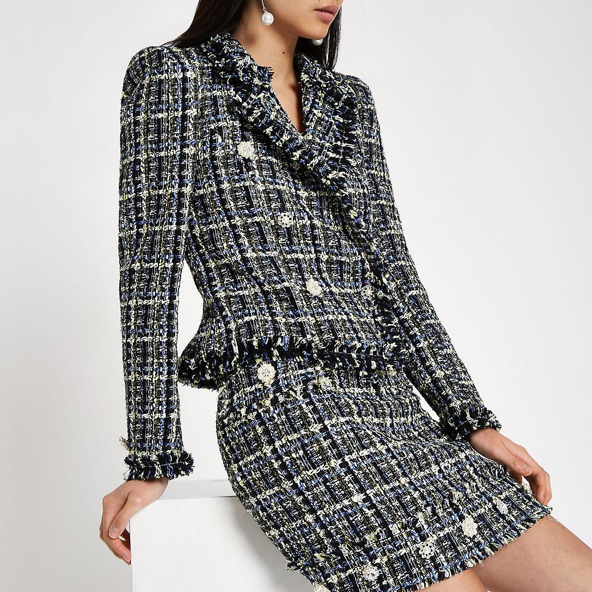 56b11348d8c5 Veste croisée en tweed bleue - Blazers - Manteaux   Vestes - Femme