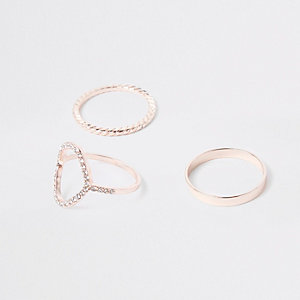 Rose gold tone ring multipack