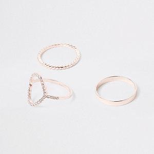 Multipack roségoudkleurige ringen