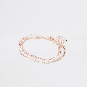 Rose gold pearl and rhinestone bracelet