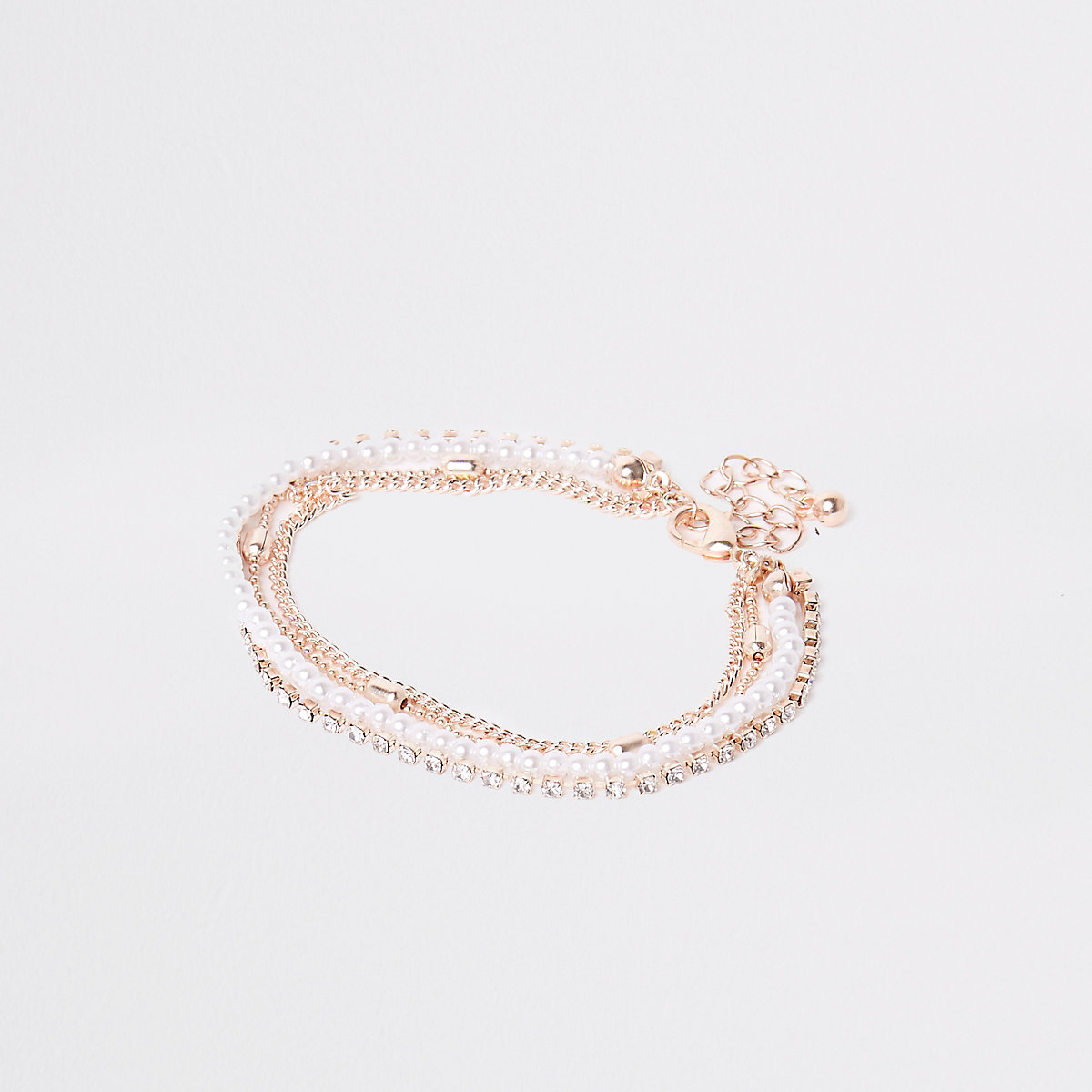 Rose gold pearl and diamante bracelet