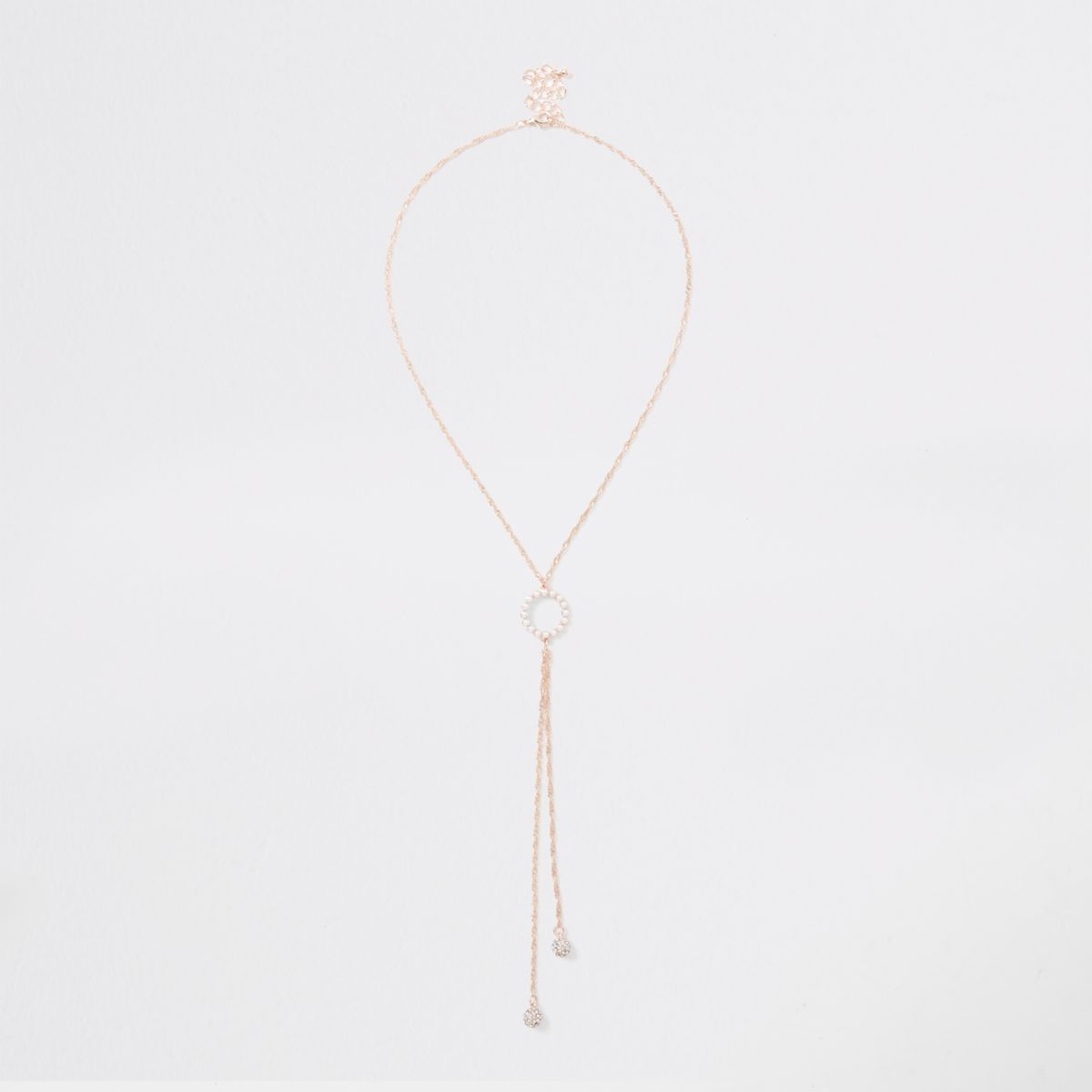 Gold tone pearl circle necklace