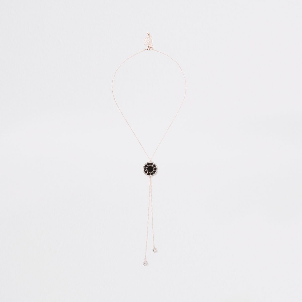 Rose gold black enamel circle necklace