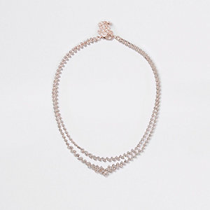 Collier à superpositions or rose et strass