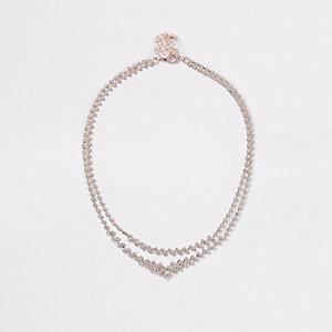 Roségoudkleurige gelaagde ketting met diamantjes
