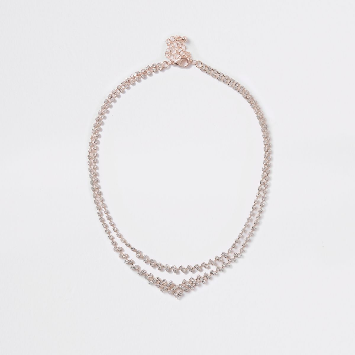 Rose gold tone tiered diamante necklace