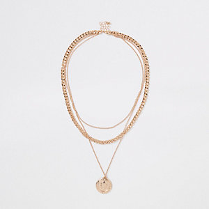 Gold colour pendant chain layered necklace