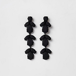 Black satin jewel drop clip on earrings