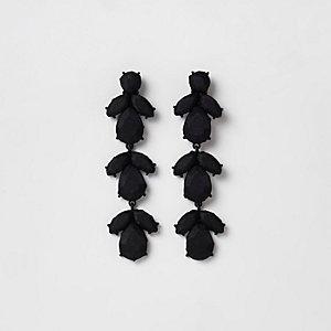 Boucles d'oreilles clips à pierre et satin noires