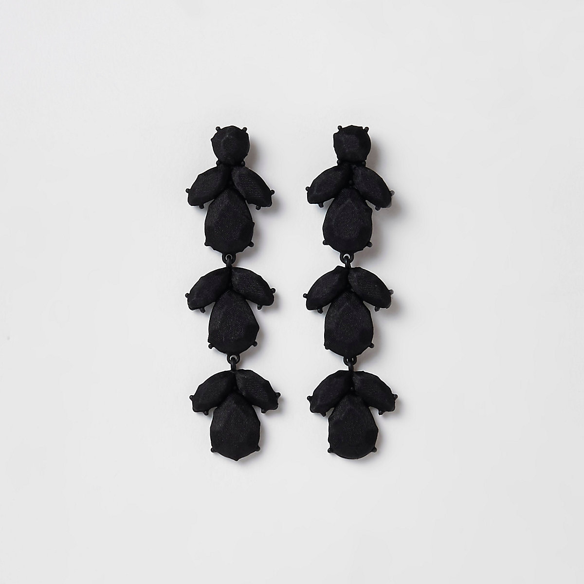 Black satin jewel drop clip on earrings