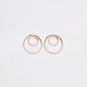 Gold tone rhinestone pave circle stud earrings