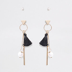 Black diamante tassel drop earrings multipack