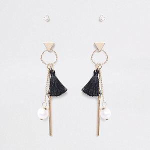 Black diamante tassel drop earrings multipack