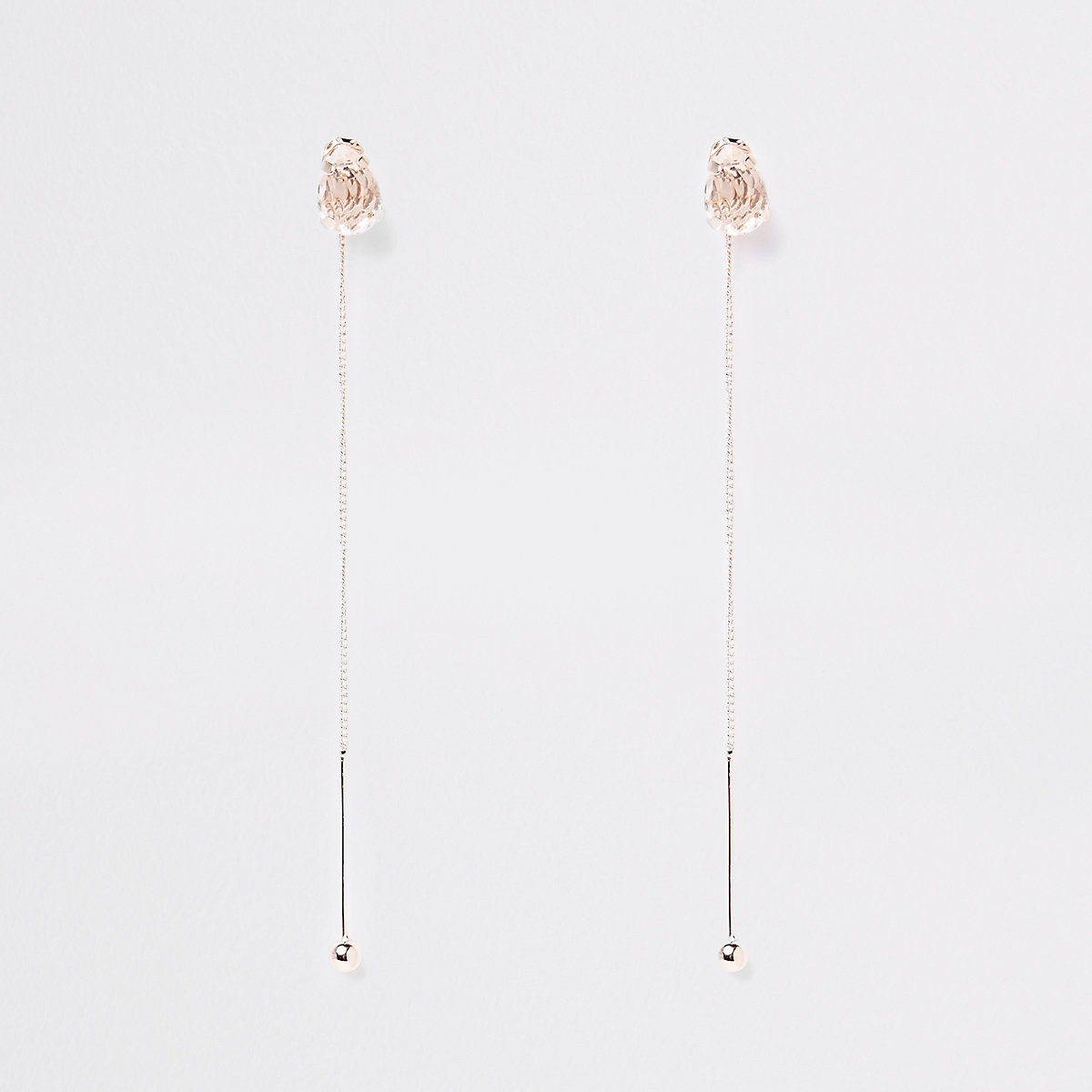 Rose gold colour stud drop earrings