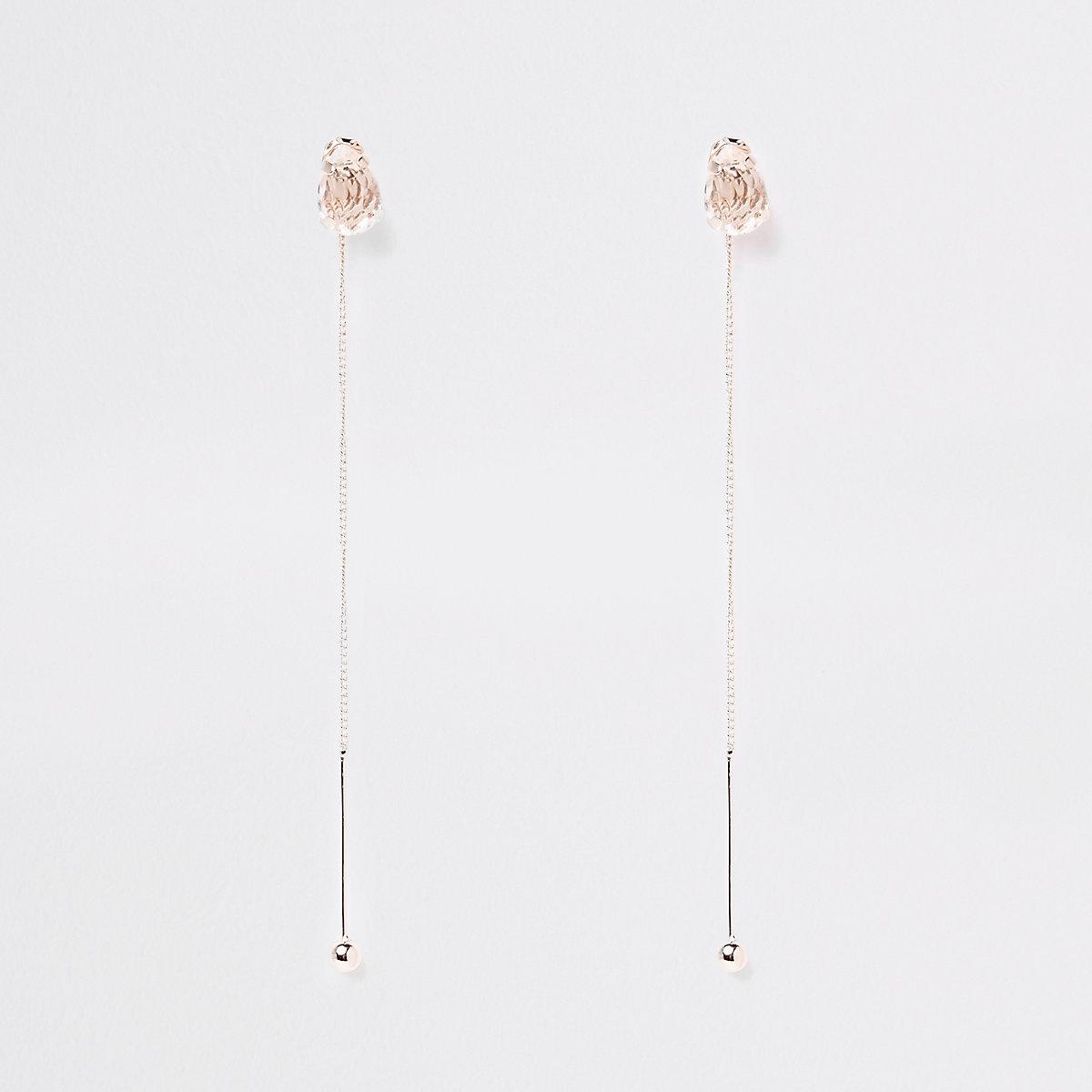 Rose gold color stud drop earrings