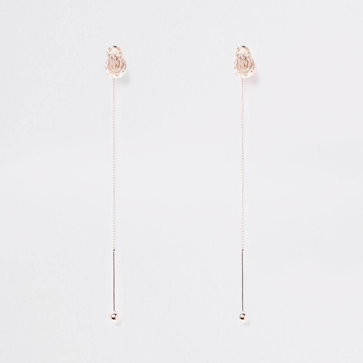 Rose gold tone stud drop earrings