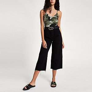 Khaki camo print cami bodysuit