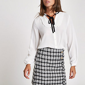 White frill tie button-up blouse