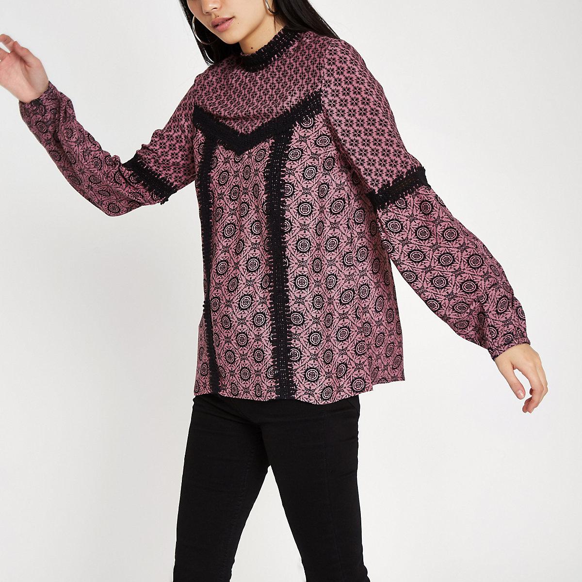 Pink tile print lace trim high neck blouse