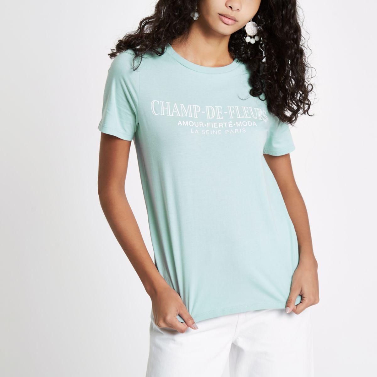 Groen aansluitend T-shirt met 'Champ'-print
