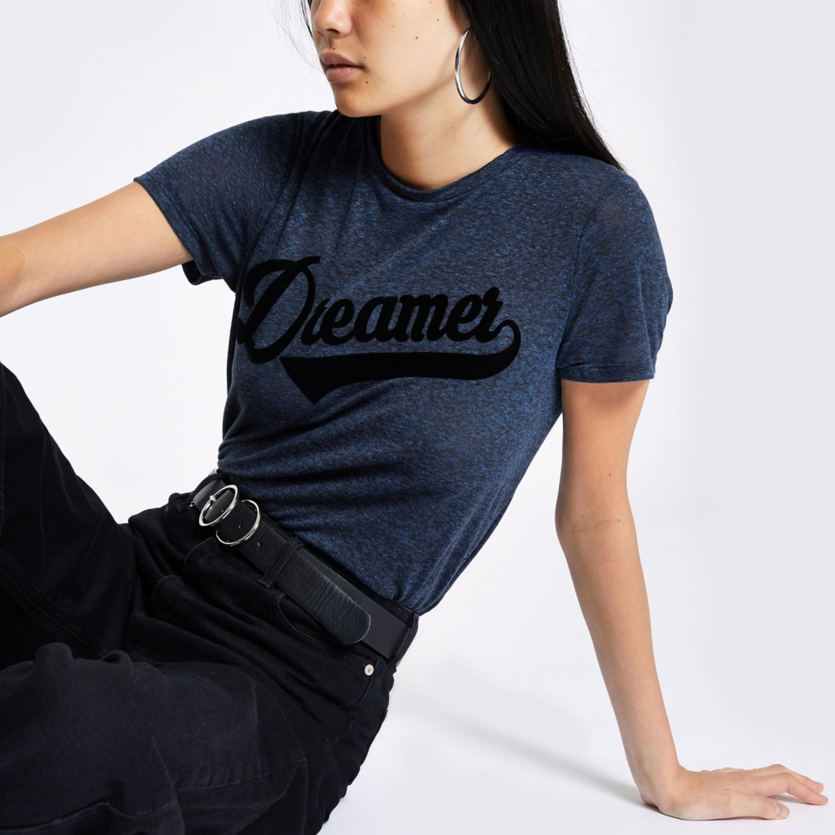 Navy 'dreamer' fitted T-shirt