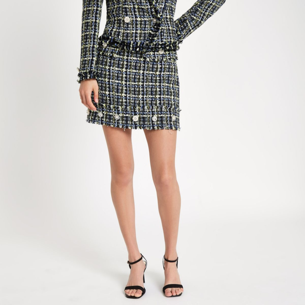 Blue tweed embellished button mini skirt