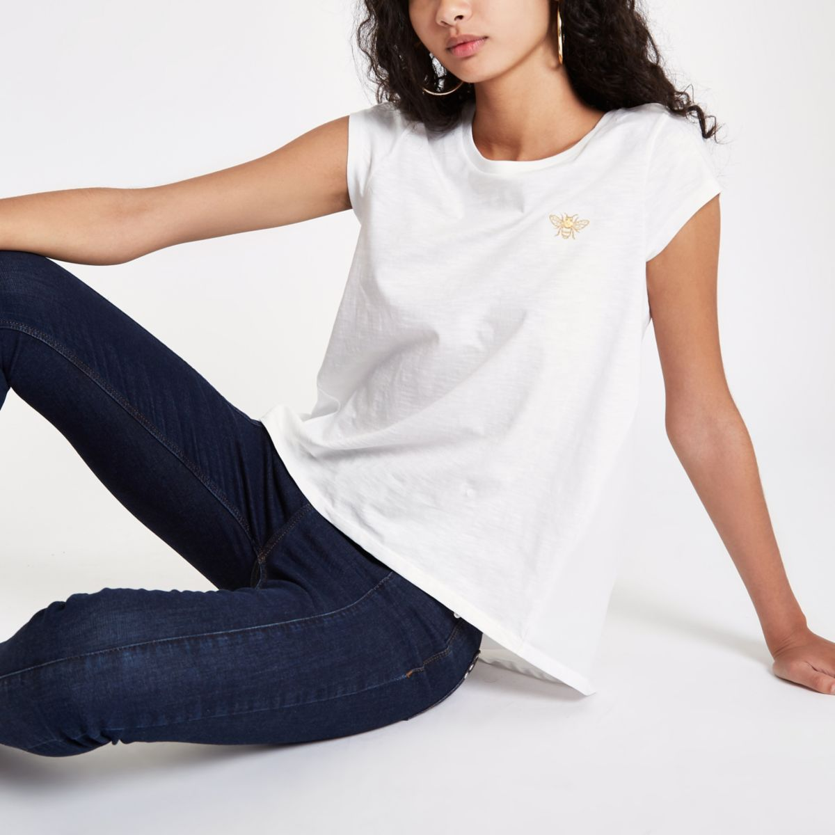 White wasp embroidered T-shirt