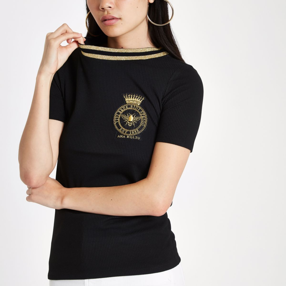 White rib bee embroidered badge T-shirt