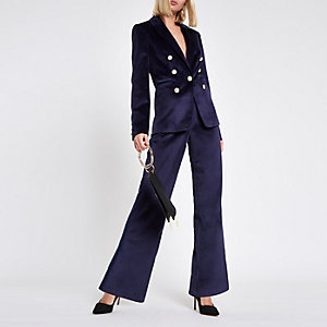 Navy velvet slim satin tape wide leg pants