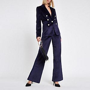 Pantalon slim large en velours satiné bleu marine à bandes latérales